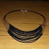 (129) Black Multi-Strand Seed Bead Necklace
