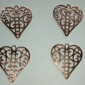 (1316) Copper Scroll Open Heart Pendant