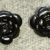 (1335) Black Rose Button Charm