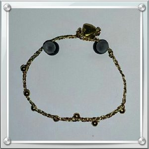 (134) Gold Bronze Cord, Gold Bead, Heart Braided Bracelet