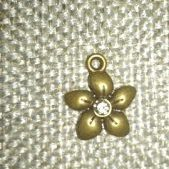 (1341) Crystal Bronze Flower Charm
