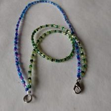 (1368) Blue Purple Green Clear 2-Strand Bracelet
