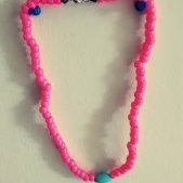 (17) Pink Pony Bead Necklace