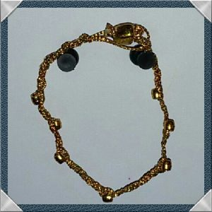 (178) Gold Bead & Heart Braided Bracelet