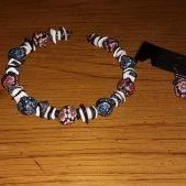 (180) Memory Wire Polymer Clay Flowers Onyx Pearl Shell Bracelet Earrings Set