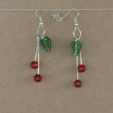 (197) Cherry Leaf Dangle Earrings