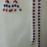 (200) Red White Blue Faceted Necklace Bracelet Earrings Set