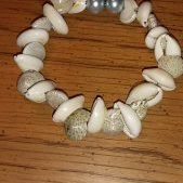 (206) Memory Wire Natural Shell Bracelet