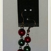 (213) Red & Green Pearl Earrings