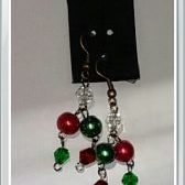 (214) Red & Green Pearl & Bicone Earrings