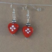 (216) Lampwork Heart Earrings