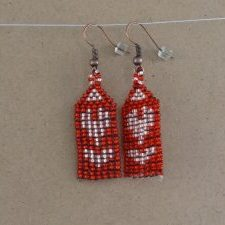 (217) Handwoven Pink Red Heart Earrings
