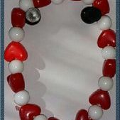 (222) Red White Heart Bracelet