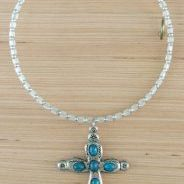 (226) Memory Wire Frosted Clear Cube Cross Necklace