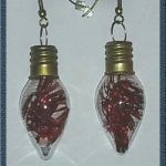 (238) Red Glass Christmas Bulb Earrings