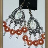 (240) Silver Filigree Teardrop, Swarovski Crystal, Pearl Earrings-Orange & Crystal