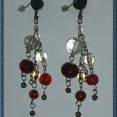 (251) Red, Clear, Brown Glass & Stone Bead Earrings