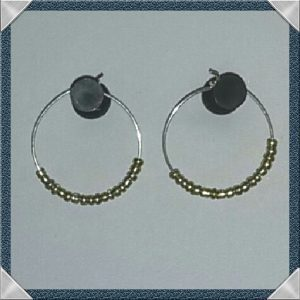(255) Gold Bead Hoop Earrings