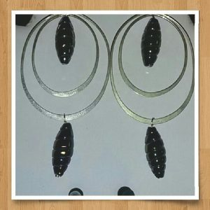 (256) Large Double Hoop Dangle Earrings