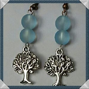(258) Tree of Life Frosted Turquoise Earrings
