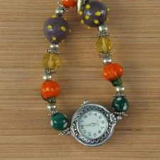 (29) Fall Lampwork Stretch Watch