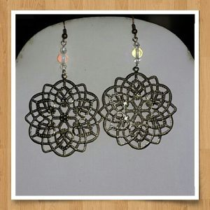 (4) Opal Filigree Flower Earrings