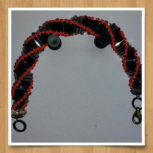 (426) Orange Seed Black Buge Bracelet