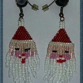 (491) Santa Head Earrings