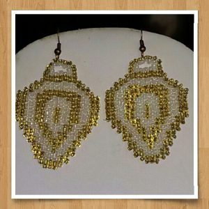 (492) Gold White Christmas Light Earrings