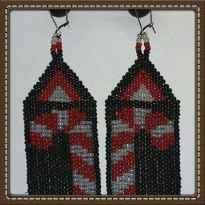(495) Candy Cane Black Background Earrings