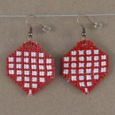(497) Red White Checkered Ornament Handwoven Earrings