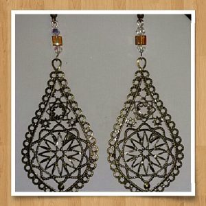 (5) Amber Cube Filigree Teardrop Earrings