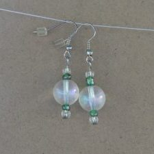 (53) AB Clear Round Green Christmas Earrings