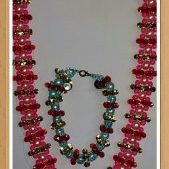 (58) Red Pink Blue Gold Star Necklace Bracelet Set