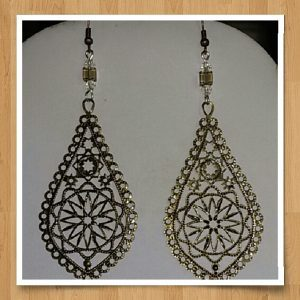 (6) Coffee Cube Filigree Teardrop Earrings