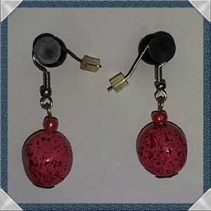 (68) Pink Red Spotted Earrings