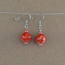 (69) Red White Speckled Earrings