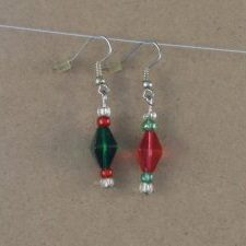 (72) Red Green Clear Bicone Earrings