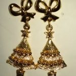 (804) Gold Christmas Tree Ribbon Post Earrings