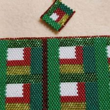 Christmas Quilt 1 Bracelet & Earrings Set