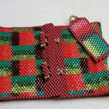 Christmas Quilt 4 Bracelet & Earrings Set