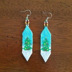 Christmas Tree Earrings, Loom & Brick